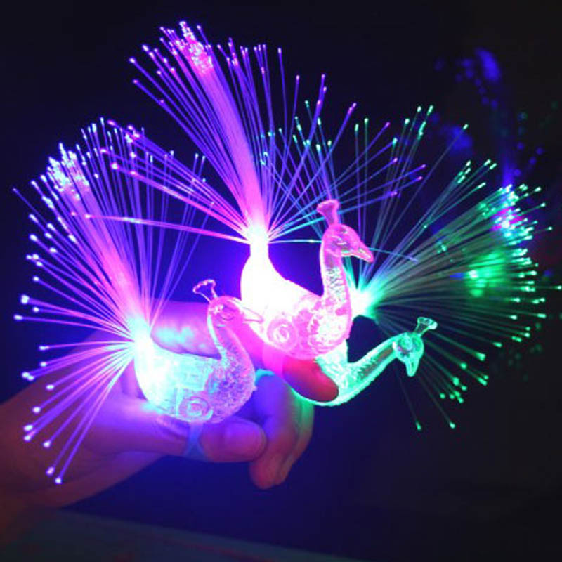 50PC Peacock Finger Light Colorful LED Light up Rings Party Gadgets Kids Intelligent Toy for Brain