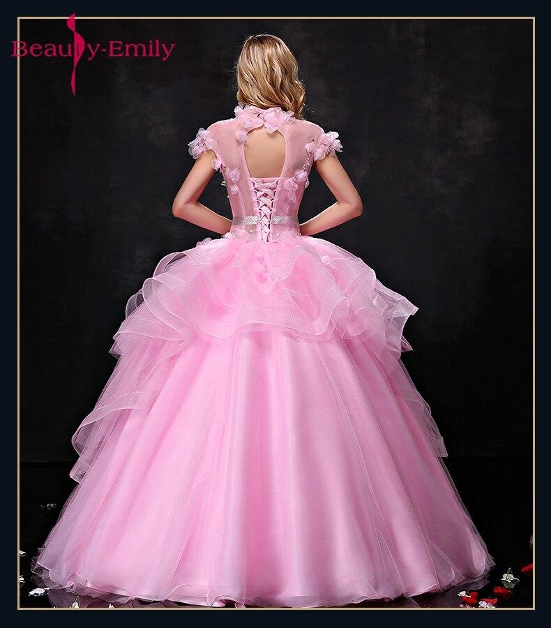Գեղեցկուհի Էմիլի Pink Long Ball Gown Quinceanera - Հատուկ առիթի զգեստներ - Լուսանկար 2