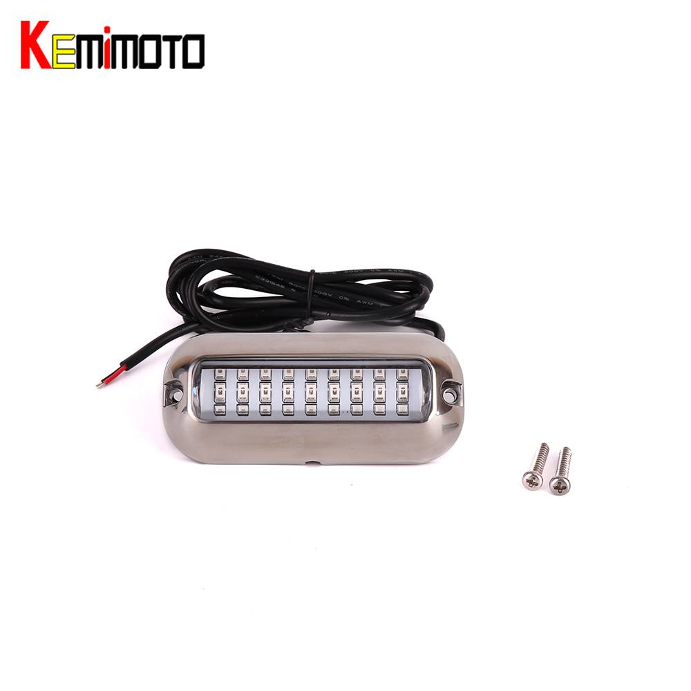 KEMiMOTO Underwater Pontoon For Marine Boat Yacht light Waterproof Light 12V 3.6W Stainless Steel LED Blue Transom Lights