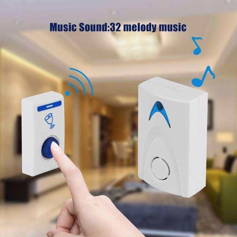 DC3V LED Wireless Chime Door Bell Battery Powered 32 Tune Songs 1 Remote Control + 1 Wireless Doorbell Home Doorbell