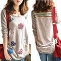 Хорошее качество женщины длинные Вязать свитер женщин с длинным рукавом Цветок Сердце Патч свитера 2014 мода свитер пуловеры 35