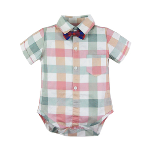 Image 3 - תינוק ילד Romper חליפת עבור תינוק בגדי קשת נטלמן פורמליות ילדי חולצה משובצת + לבן חגורת מכנסיים יילוד בגדי סט