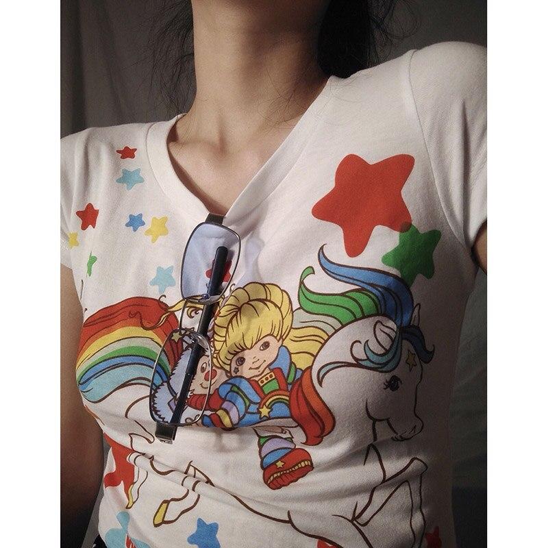 Original personalizado mulheres kawaii colheita topo verão nova diversão arco-íris cavalo harajuku vintage manga curta plus size camiseta feminina