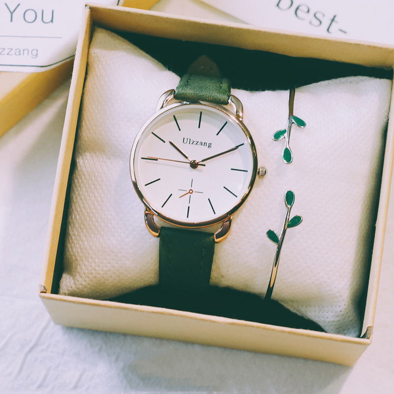 Simple women vintage leather watches 2019 ulzzang fashion luxury brand ladies wrist watch gifts with box and the leaves braceletSimple women vintage leather watches 2019 ulzzang fashion luxury brand ladies wrist watch gifts with box and the leaves bracelet
