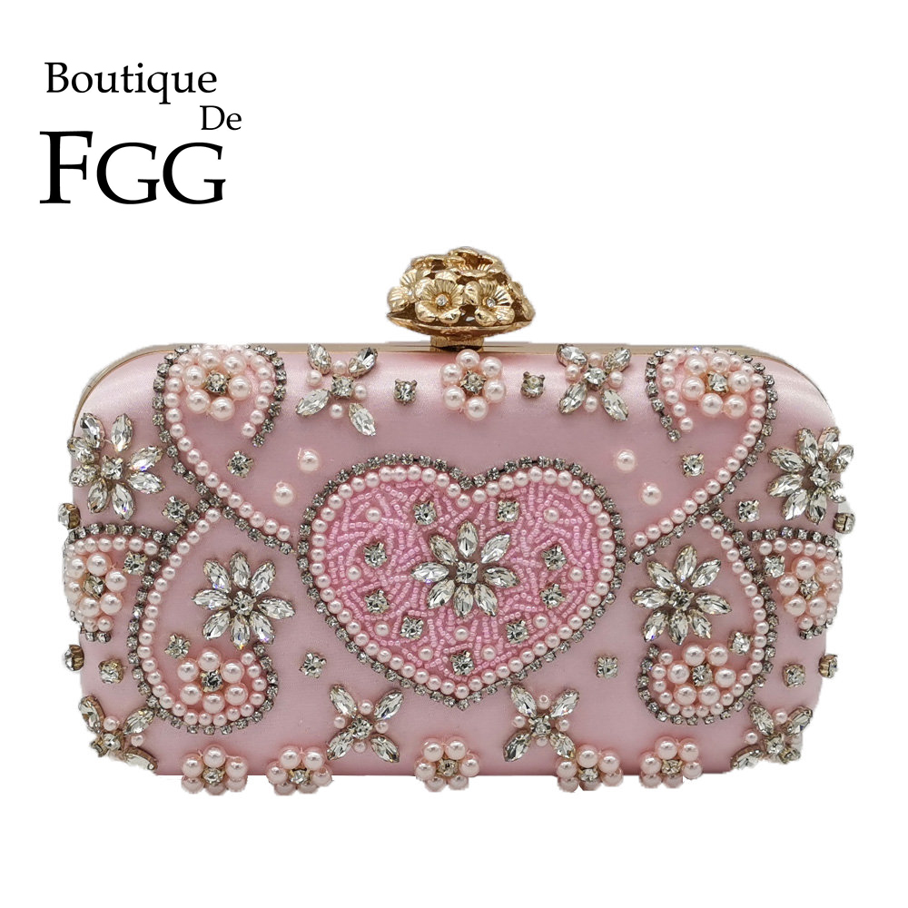Boutique De FGG Vintage Pink Beaded Clutch Women Evening Bags Heart & Flower Wedding Crystal Clutches Handbags Bridal Purses