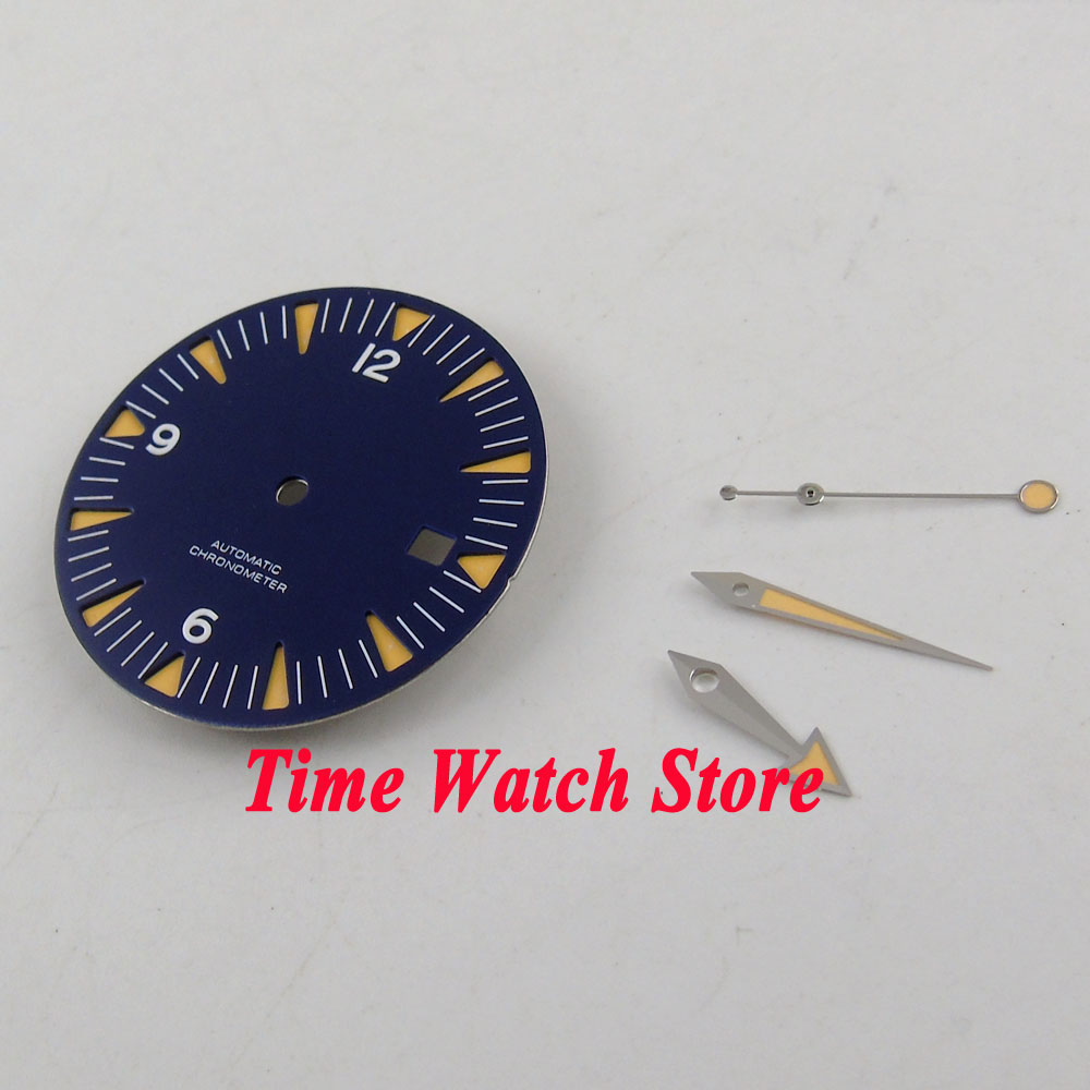 Fit ETA 2824 2836 Automatic Movement 31mm blue sterial dial luminous orange marks Watch Dial with hands D92Fit ETA 2824 2836 Automatic Movement 31mm blue sterial dial luminous orange marks Watch Dial with hands D92
