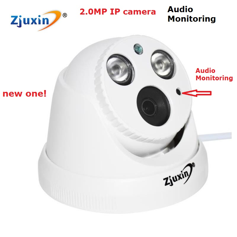 ФОТО 1PC 2MP IP Camera with audio monitoring 1080P IP  dome indoor security camera use lens 3mp 3.6mm lens two big array led