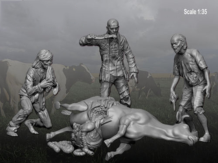 1/35 Zombie - Cow Massacre Inlcude 3 Figures & 1 Dead Cow     Toy Resin Model Miniature Kit Unassembly Unpainted