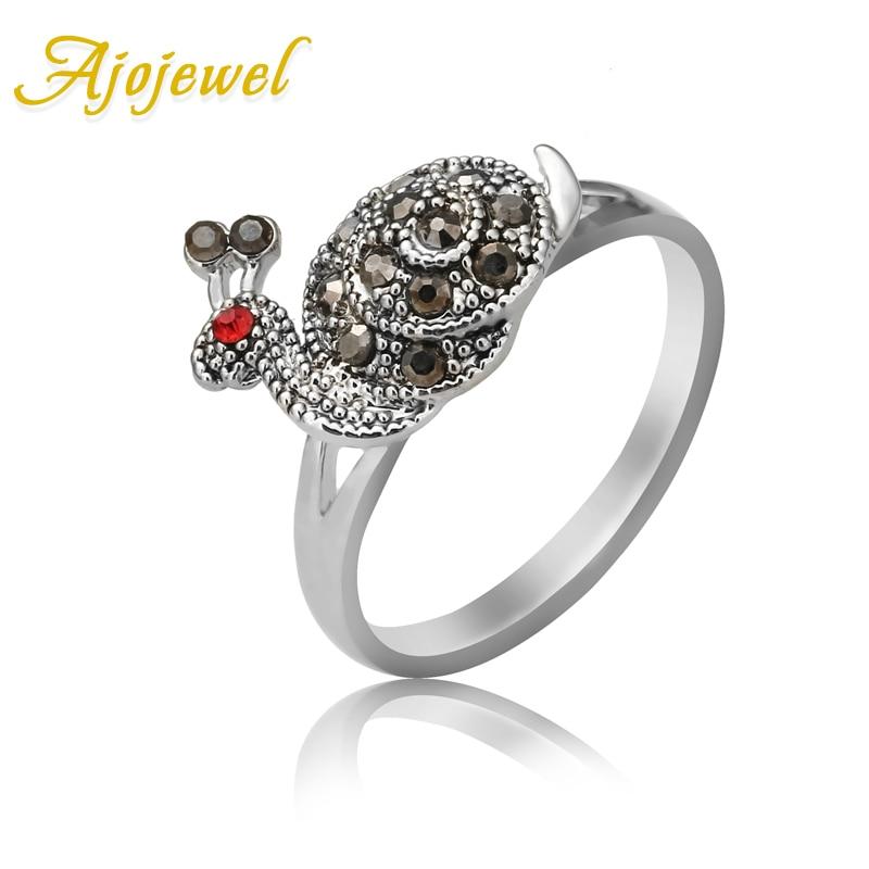 Ajojewel Special Model Crystal Rhinestone Snail Rings For Women Fashion Animal Jewelry 2017 Bijoux