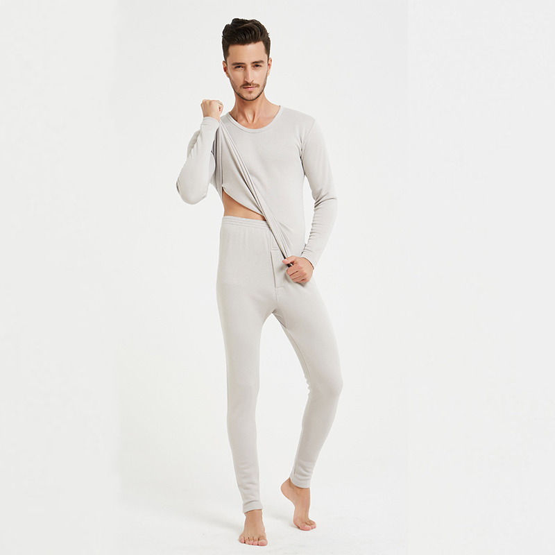 100 % silk plush warm underwear set thick long cold resistant round collar men's winter clothing and trousers LVFAN ZC0002