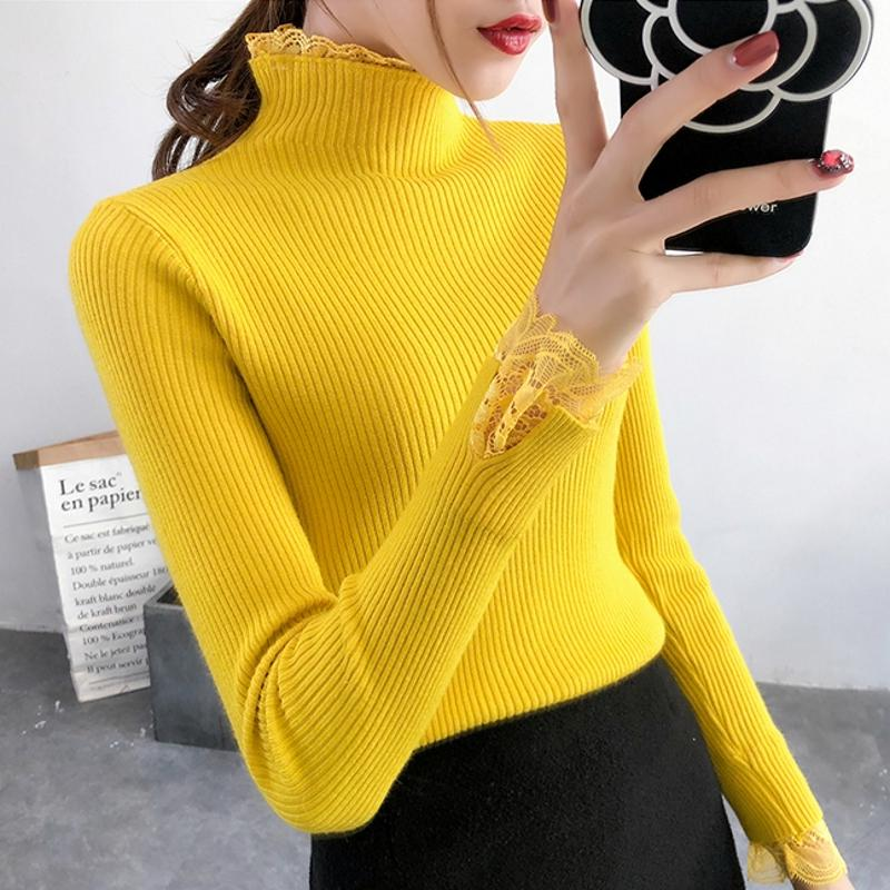 Pullovers Fashion Lace Embroidery Half Turtleneck Women Sweaters And Pullovers 2018 Autumn Winter Elasticity Slim Knitted Sweter Mujer Women's Clothing