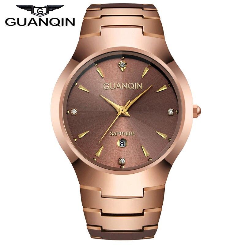 ФОТО GUANQIN GQ30018 calendar Mens Watches Top Brand Luxury Rose Gold Tungsten Steel Quartz Watch Mens Wrist Watches Male Clock