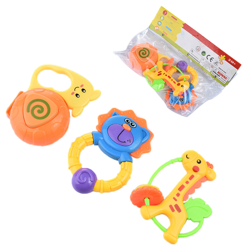 3PC Baby Rattle Development Toddler Toys and Gutta-percha Play Set Baby Rattles Toy 0-1 year Old Newborn Teethers Hand Rattles ...