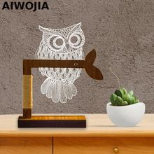 Owl 3d  Led Table Lamp Luminarias De Mesa Acrylic Dimming Light Interior Flexible Fixtures