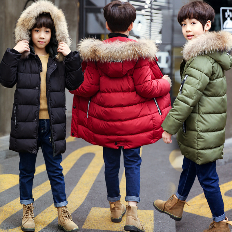 Children Winter Coat For Boy 2018 New Fashion Fur Collar Cotton Padded Thickening Baby Boy Clothes Warm Jackets Outwear 8 10 12 2018 new fashion baby boy s coat middle length baby wool cotton padded jacket faux fur coat children winter clothes