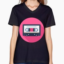 Vintage cassette tape women's shirt / girlie