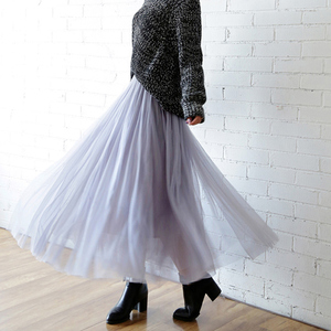 Image 2 - TIGENA Tulle Skirts Womens 2020 Summer Long Maxi Skirt Female Elastic High Waist Pleated Tutu Skirt Sun Black Gray White