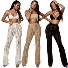 2019 Women Summer Beach Knitted Hollow Out Pants See Through Beachwear Flare Pant Sexy Bodycon Party Trousers Clubwear цена