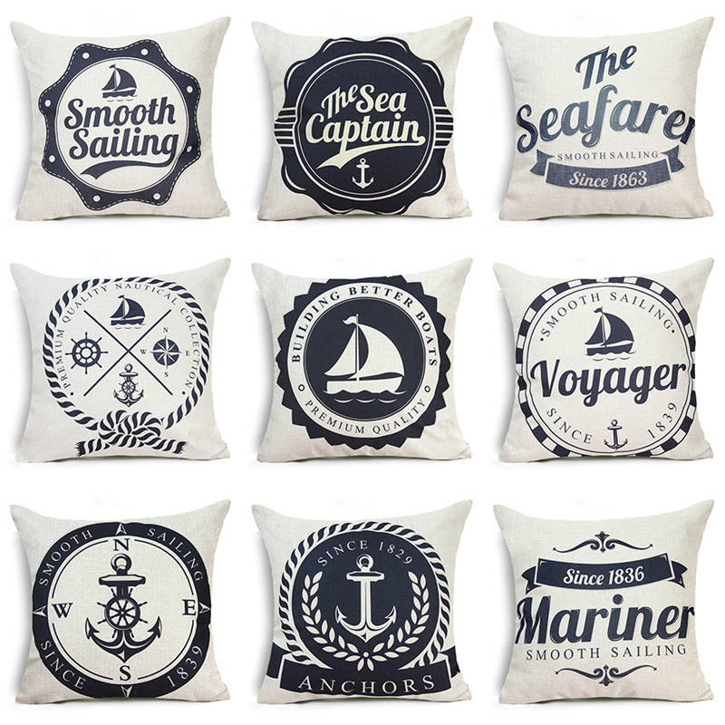Sea Blue Helm Printed Cushion Cover Anchor Pattern Marine Cotton Throw Pillow Case sequin pillow cover Decorative Pillowcase