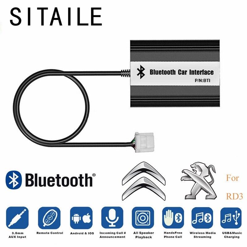 SITAILE Voiture Bluetooth A2DP MP3 Lecteur de Musique Adaptateur pour Peugeot 106 206 RD3 Citroen C3 C4 C5 C8 Interface Voiture USB Chargeur pièces