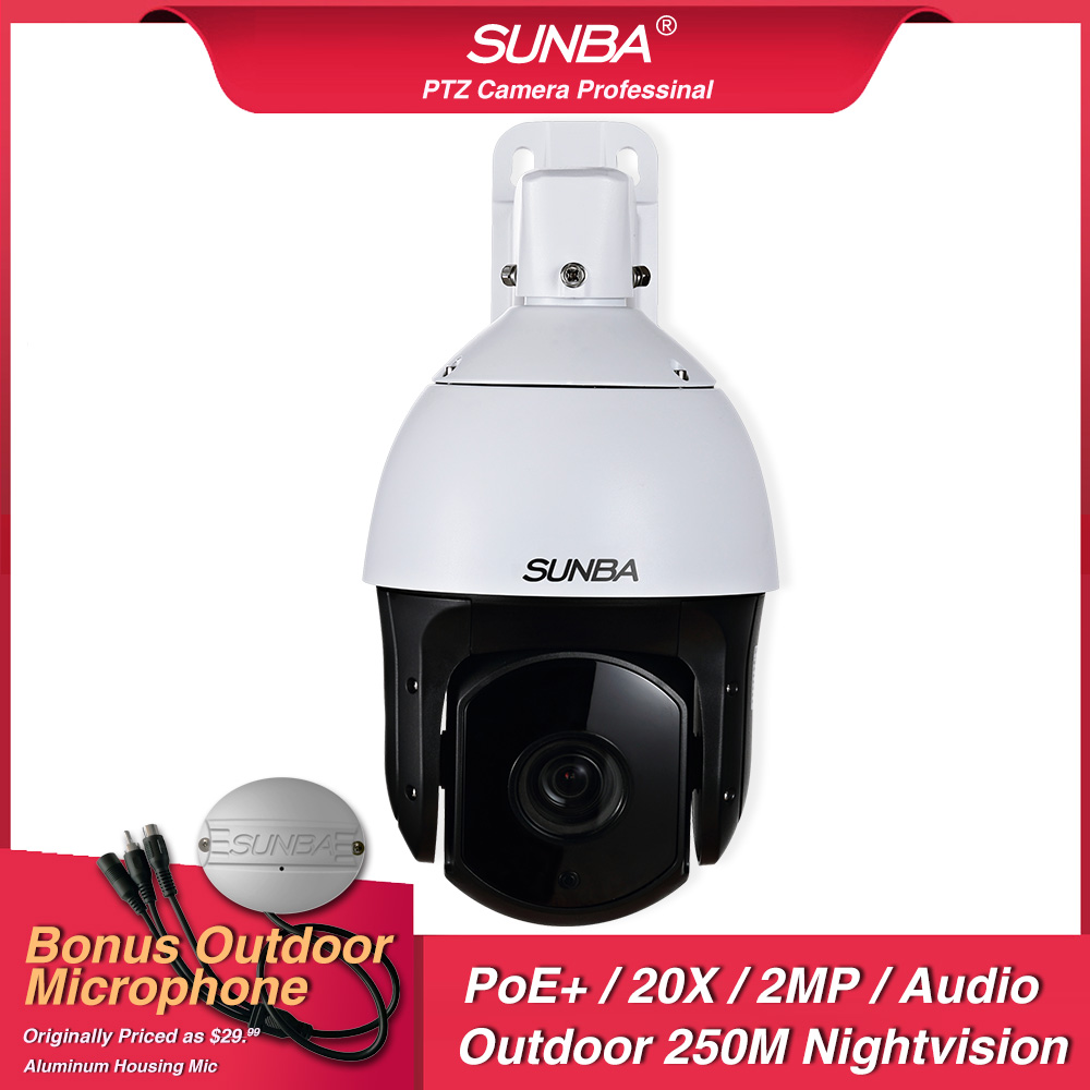 SUNBA Outdoor IP Camera PoE High Speed Security Dome PTZ D20X Optical Zoom 2MP ONVIF and