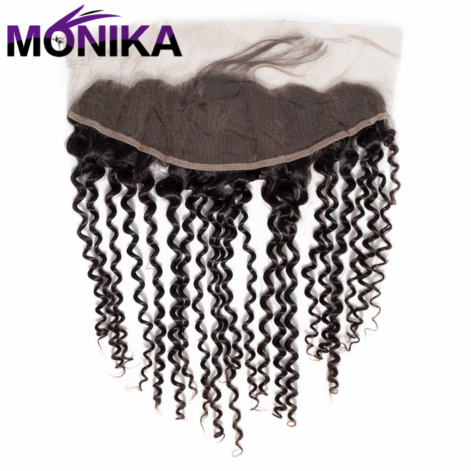 Monika Kinky Curly Lace Closure With Baby Hair Natural Color 13X4 Non Remy Hair 100% Human Hair Free Shipping
