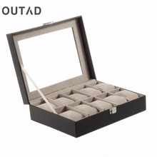 OUTAD 1Pc PU leather 10 Grid Watch Box Professional Wrist Display Jewelry Storage Organizer Holder Case Caixa Para Luxury(China)