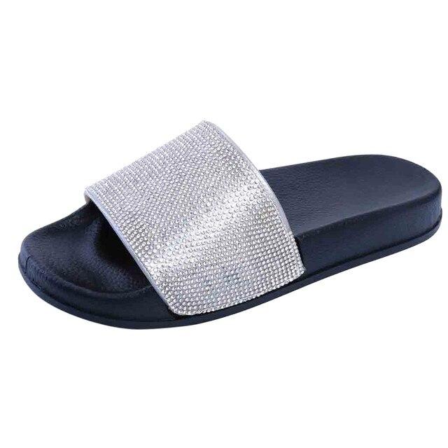Горный хрусталь Для женщин Тапочки Летние вьетнамки Для женщин Стразы для ногтей пляжные шлепанцы сандалии повседневная обувь слипоны тапочки 2019
