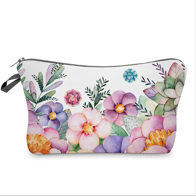 Cosmetic Organizer Bag Make Up Flowers 3D Printing Cosmetic Bag Fashion Women Brand Makeup Bag