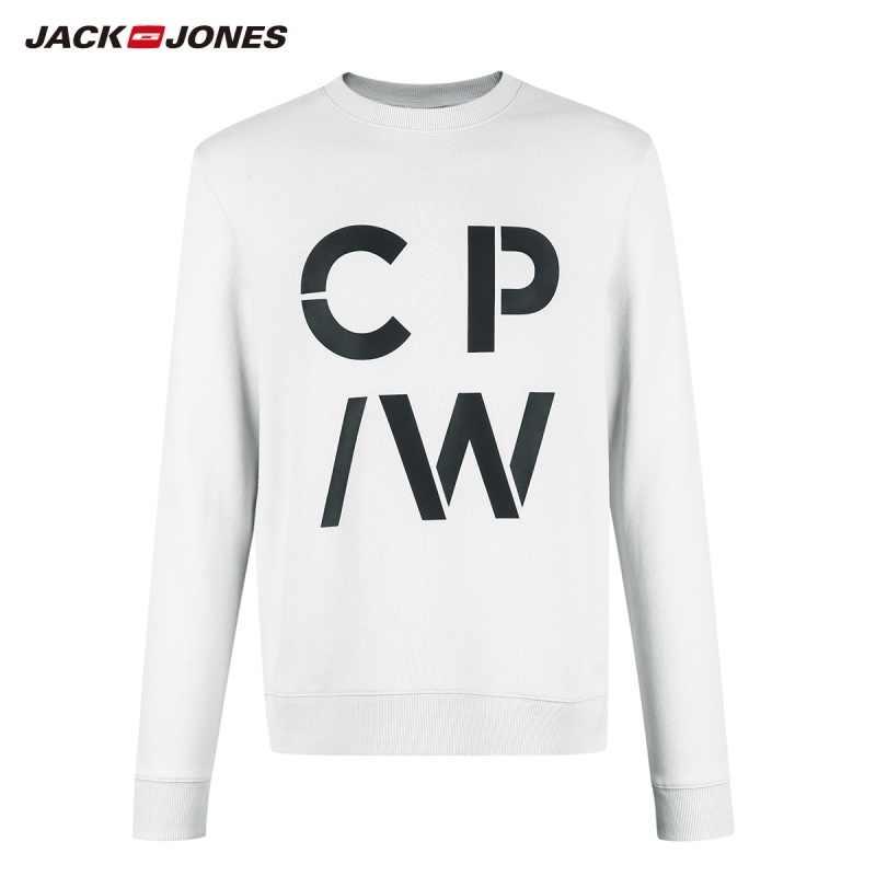 JackJones мужской 2019 100% хлопок круглый вырез с буквенным принтом чистый цвет Толстовка Топ Мужская одежда   219133506