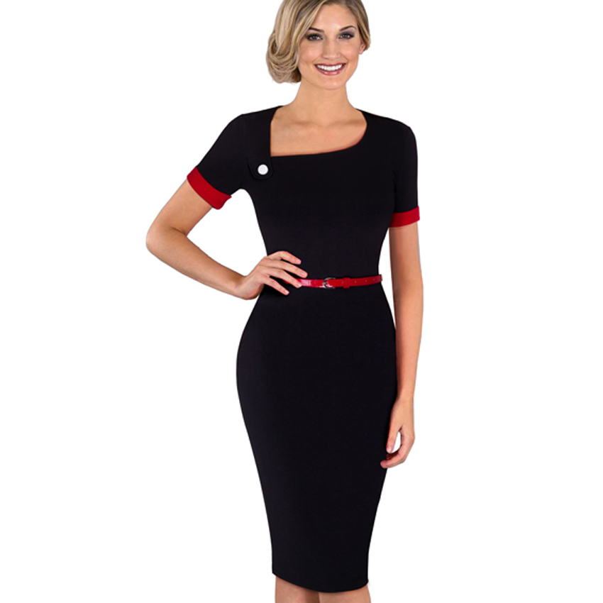 Summer Casual Women Wear To Work Business Office Elegant Belt Short Sleeves Bodycon Pencil Dress EB350