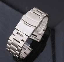 Hombres de Acero inoxidable Reloj Banda Correa de metal Tono Plata 18mm 20mm 22mm 24mm hebilla Desplegable seguridad