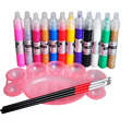 12 Color 3D Drawing Paint Painting Pen Acrylic Nail Art Tips & Pallet 3Pcs Brush Kits