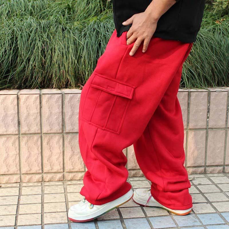 Otoño Invierno pantalones de chándal de talla grande para hombre Hip Hop Harem pantalones holgados Casual jogging pantalones de algodón ropa de calle danza-in Pantalones de pierna ancha from Ropa de hombre    1