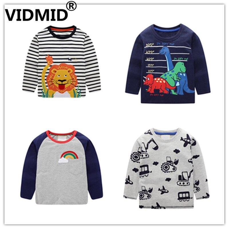 VIDMID T-Shirts Kids Excavator Dinosaur Long-Sleeve Boys Cotton Cartoon Summer with And