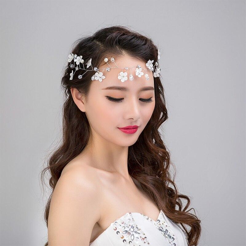white flower pearl headbands wreath wedding bridal hair bands forehead jewelry bride headdress rhinestone hair accessories