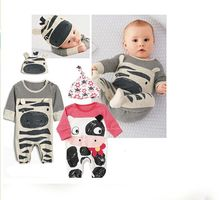 2017 Autumn New Vogue child boy garments set cows sport rompers+hat new child clothes set cute child ladies garments boys garments