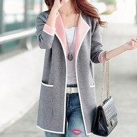 2017 New Autumn Fashion Women Shirts Knitting Open Long Spell Color Sweater Blouse Shirt Pink Light