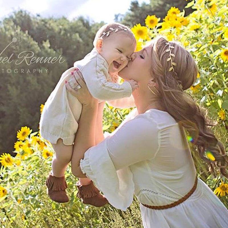 3set / mycket Gold Leaf Baby Girl Pannband Gold Vine Pannband Mamma - Kläder tillbehör - Foto 2