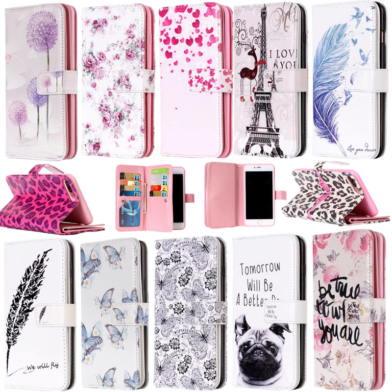 <font><b>Case</b></font> For <font><b>iphone6s</b></font> 6plus 5s se 5 Painted pattern PU Leather Stand Wallet Flip <font><b>case</b></font> for iphone 7 8 plus x xr xsmax with <font><b>Card</b></font> Slots image