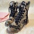 Camuflagem Sapatos Mulheres Botas de Combate Do Exército Sapatos de Lona Outono Das Mulheres Da Motocicleta Botas Ocidentais X1143 35