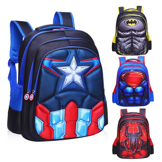 bb3235a99e Cartoon 3D Spiderman Superman School Bags For Boys Waterproof Orthopedic Backpack  Children Book Bag Kids Satchel