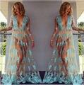 2016 Women see-through dress Hippie Boho Sexy Deep V Neck Lace Beach Wear long dress Maxi Dress Vestidos