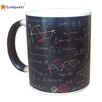 Automatic Self Color Changing Mug Cup Mathematical Formulas Print Coffee Mug Heat Reveal Ceramic Water