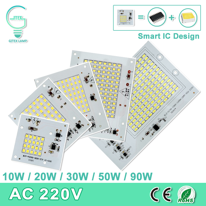 Smart IC SMD LED Chips Lamp 10W 20W 30W 50W 90W Light Chip 220V 230V pro DIY LED FloodLight studená bílá teplá bílá