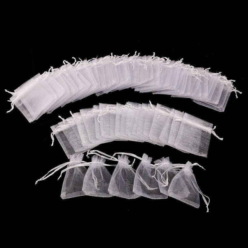 50 pcs Branco Sacos de Organza 7x9 9x12 11x16 13x18 CENTÍMETROS Partido Jóias sacos de Presente de casamento Drawable Bolsas Saco de Doces Para A Comunhão Deco 55