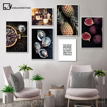 Cartel de cocina de alimentos, lienzo de arte de pared, estampado de tartas de arándanos, cuadro de pintura decorativa de café, decoración moderna para comedor