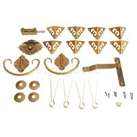 High Quality 1 Set Brass Hardware Set Hinges Latch Handle Corners Antique Trunk Case Jewelry Box with Nails