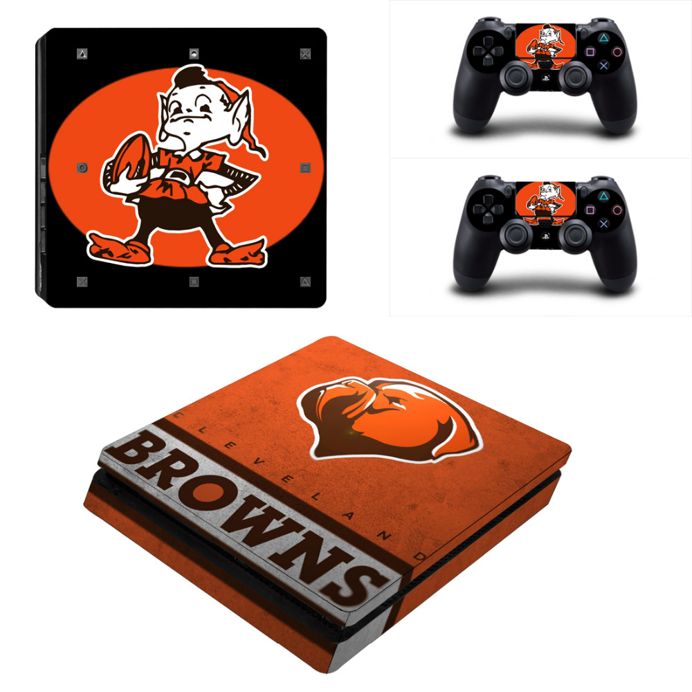 NFL Cleveland Browns PS4 Slim Skin Sticker Decal For Sony PS4 PlayStation 4 Slim Console and 2 Controllers PS 4 Stickers