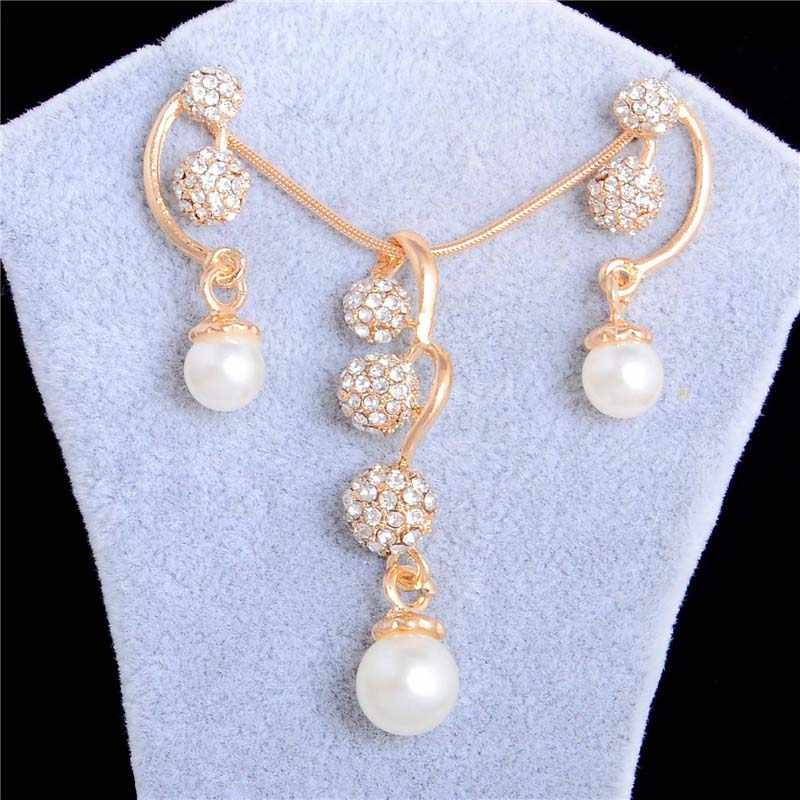 QCOOLJLY 2019 Brides Wedding Simulated Pearl Jewelry Sets Gold Color CZ Zircon Crystal Long Style Pendant Necklace Earrings Sets